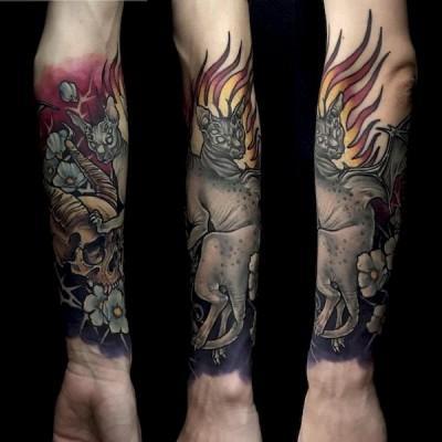 kolorowy tatuaż z kotami