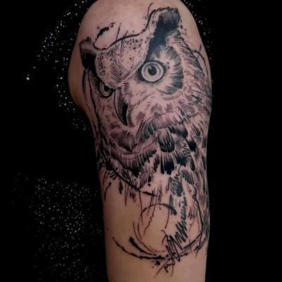tatuaż z sową